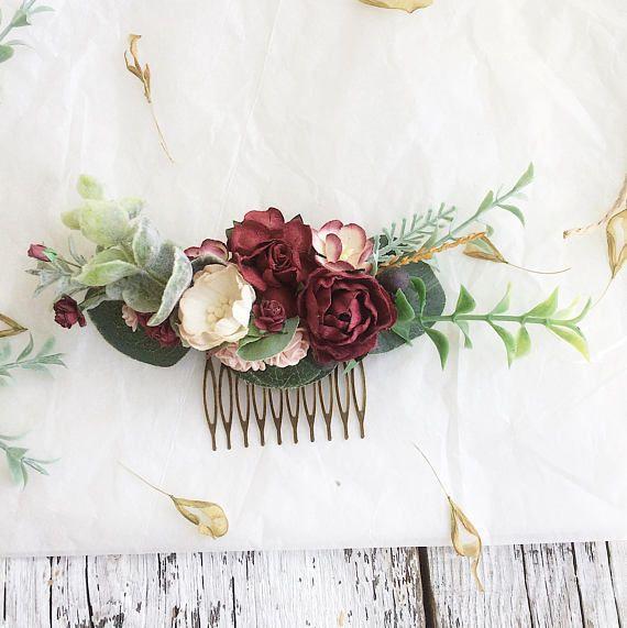 Marsala Peigne Peigne A Bordeaux Pince A Cheveux Fleur Rouge Accessoires Pour Coiffure De Mariee Fleur Cheveux Tresse Mariage