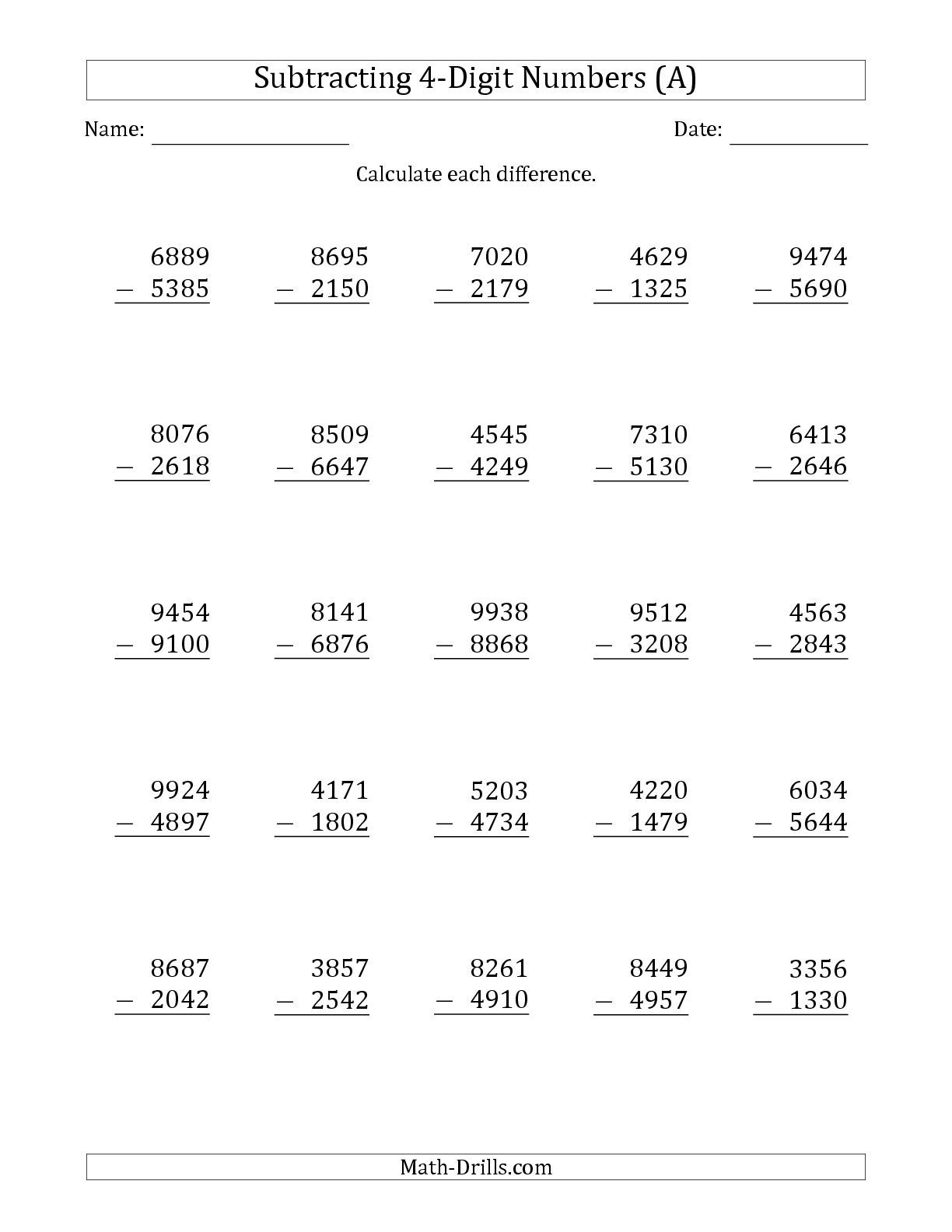 The 4-Digit Minus 4-Digit Subtraction (A) math worksheet ...