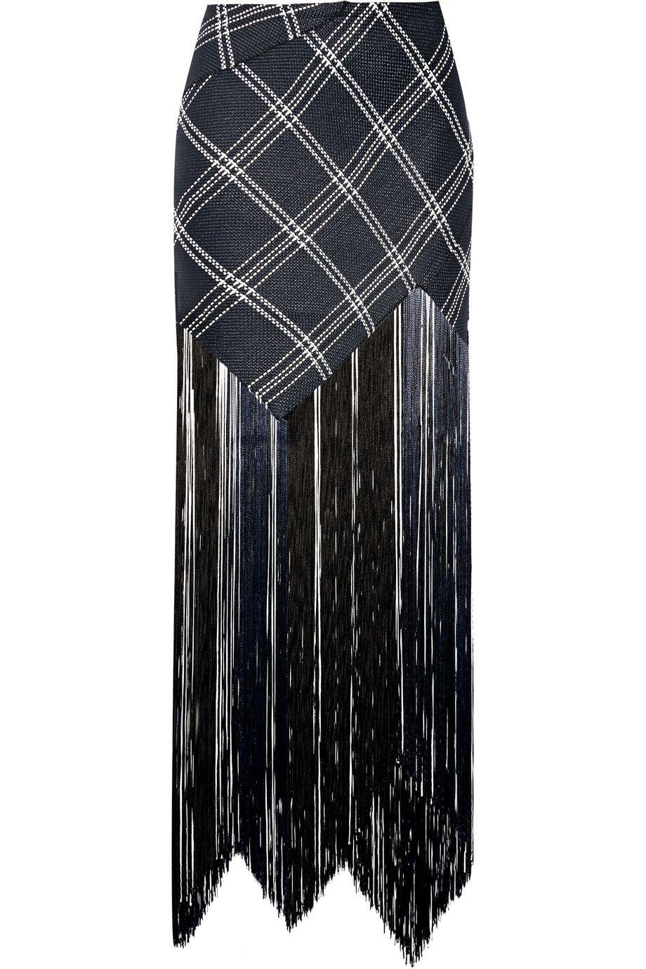PROENZA SCHOULER Fringed Plaid Basketweave Canvas Maxi Skirt. #proenzaschouler #cloth #skirt