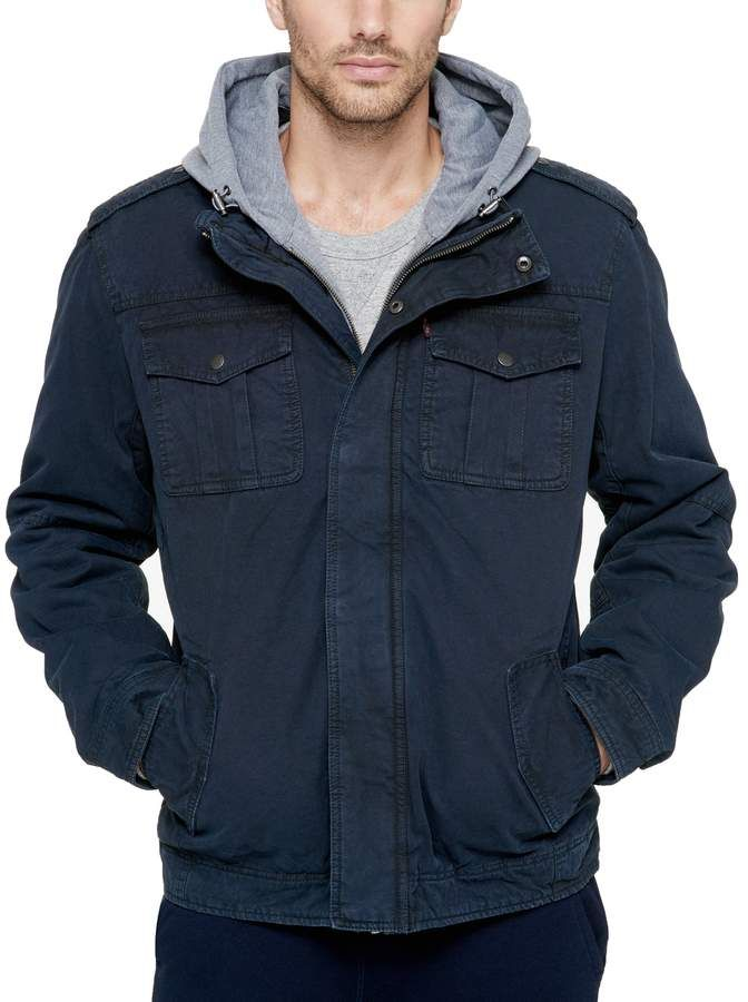 a3f927e1c55 Levi s Levis Men s Sherpa-Lined Hooded Military Trucker Jacket ...
