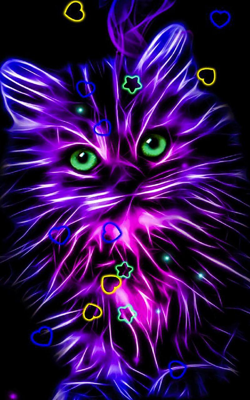 Neon Neon Wallpaper For Android Peinture De Chat Dessin Chaton Fond D Ecran Dessin