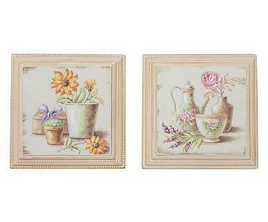 Set di 2 quadri decor in legno Nature, 26x26x3 cm