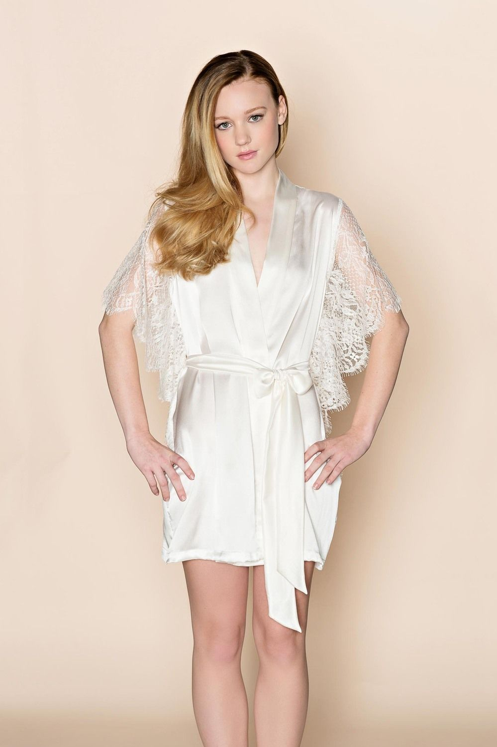 Grace Wedding Silk Kimono Robe With French Lace Sleeves Withaseriousdream Bridal Robes