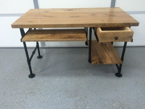 Rustic reclaimed barn wood computer desk table w shelf for Iron pipe desk