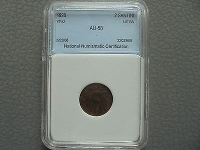 2 SANTINI 1928. LATVIA. GRADED COIN. RARE!