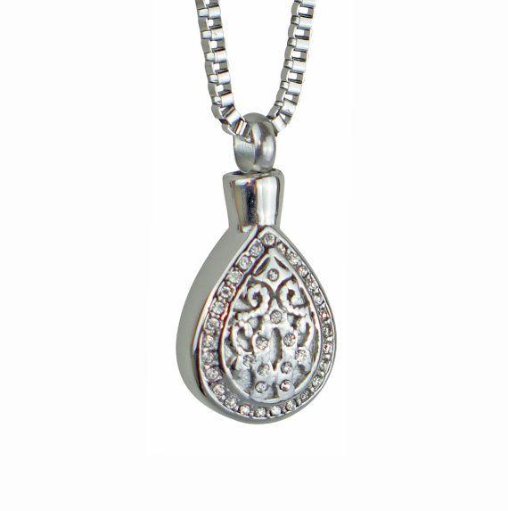 Crystal Teardrop Urn Pendant Necklace Cremation Jewellery ...