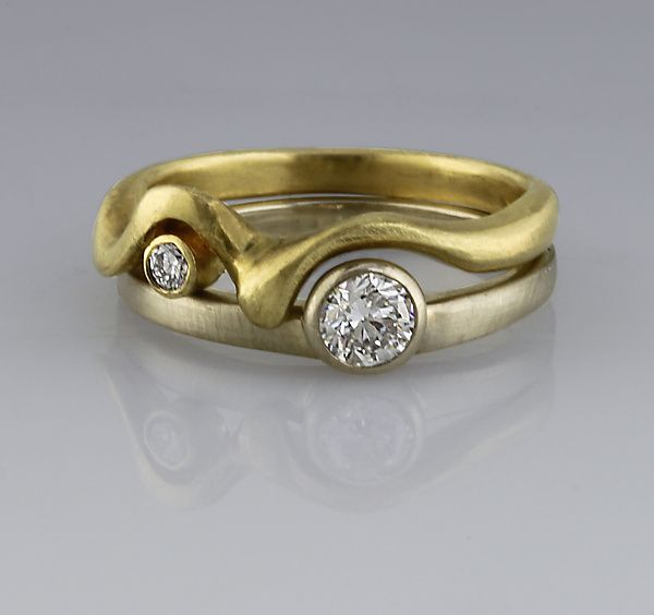 Nesting Diamond Bands: Karina Mattei: Gold & Stone Ring - engagement and wedding ring set