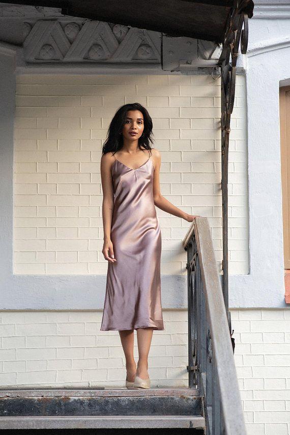 c93b4f12a41 Silk bias dress Silk slip dress pink gold Pure silk camisole Silk chemise  Satin silk dress Thin stra
