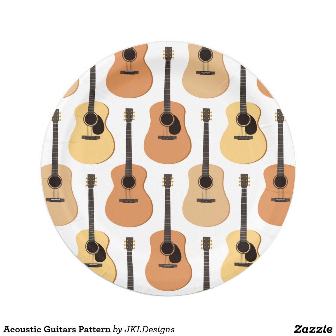 Acoustic Guitars Pattern Paper Plate | Parker\'s B-Day | Pinterest ...