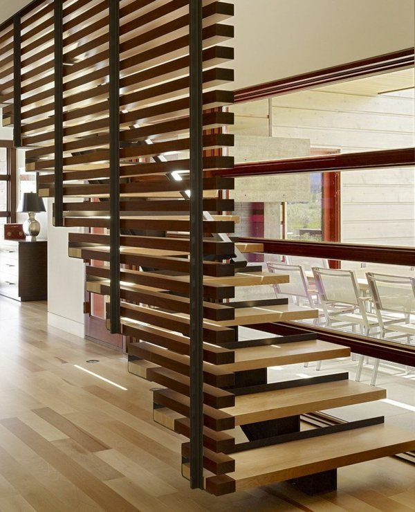 treppengeländer Raumteiler Ideen aus Holz design raumteiler treppe ...