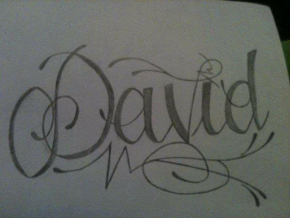 Dibujo Hecho A Lapiz Tatuaje Con El Nombre De David Dibujos Hechos A Lapiz Disenos De Dibujo Dibujos