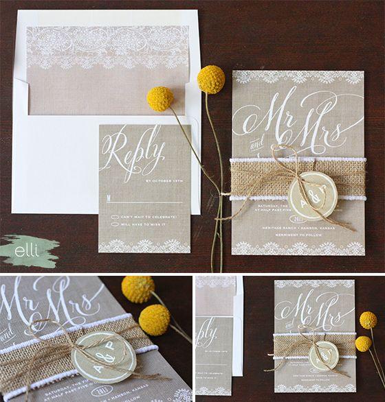 Burlap Mr & Mrs Wedding Invitations DIY Binding