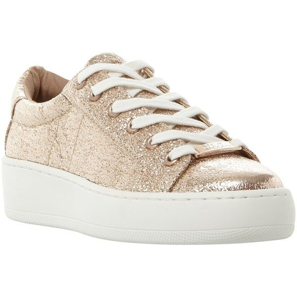 Steve Madden Bertie-C Lace Up Trainers , Rose Gold (160 BAM) ❤ liked on  Polyvore featuring shoes, sneakers, rose gold, flat sneakers, rose gold  sneakers, ...