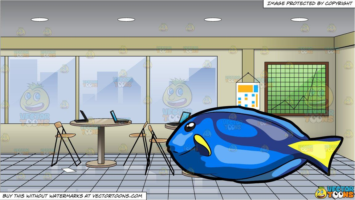 A Striking Royal Blue Tang Fish And Inside A Messy Meeting Room Blue Tang Fish Beige Walls Meeting Room
