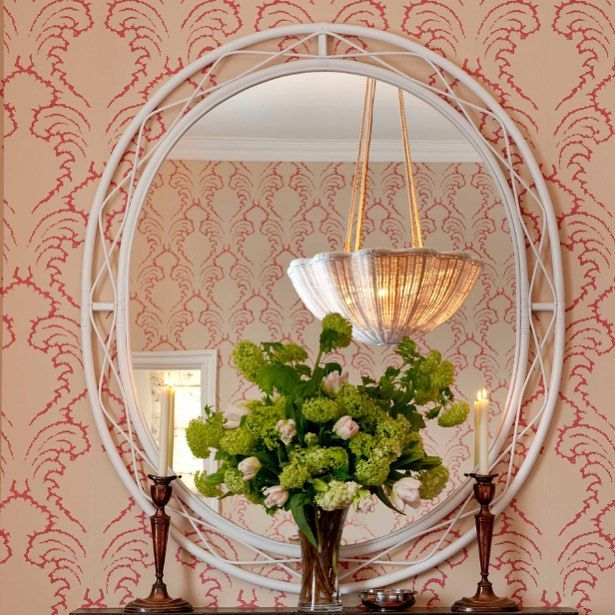 Soane Britainu0027s Rattan Lacy Mirror Reflecting Pineapple Frond Wallpaper And The  Daisy Hanging Light.
