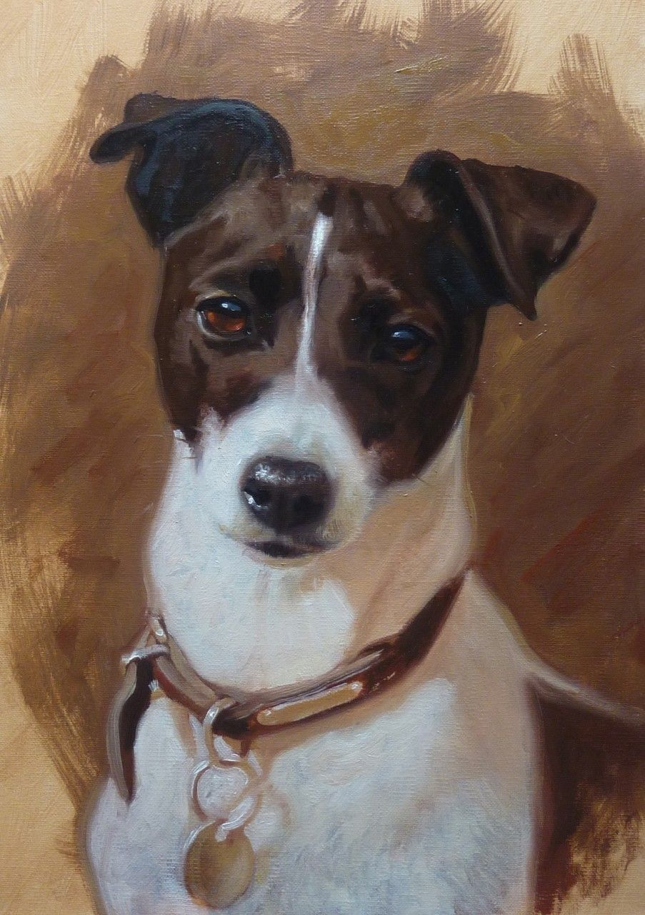 Dogs in Art at the StockBridge Gallery - Jack Russell Painting by Hazel Morgan,