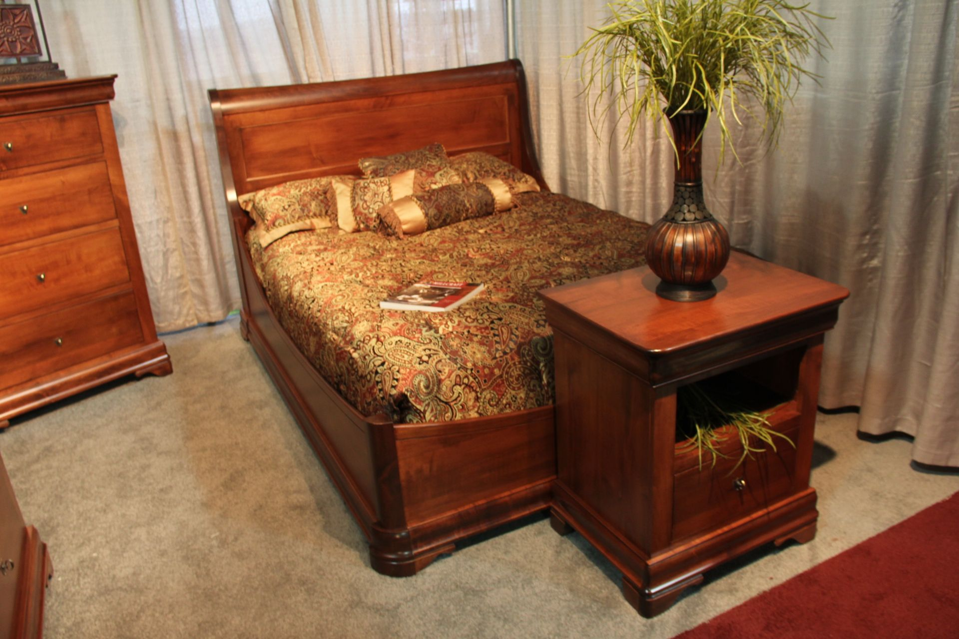 fantastic wooden bed frame and night table