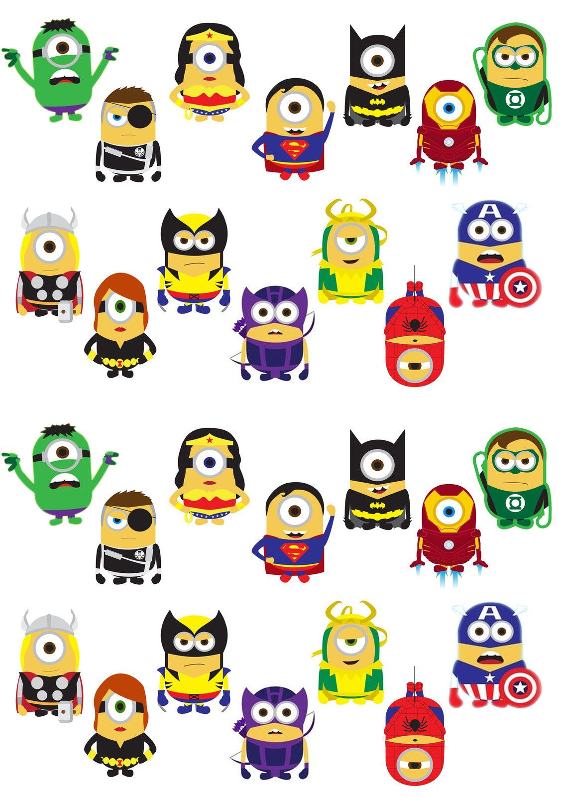 28 STAND UP Edible Superhero Minion Themed Wafer Paper Cupcake Cake ...