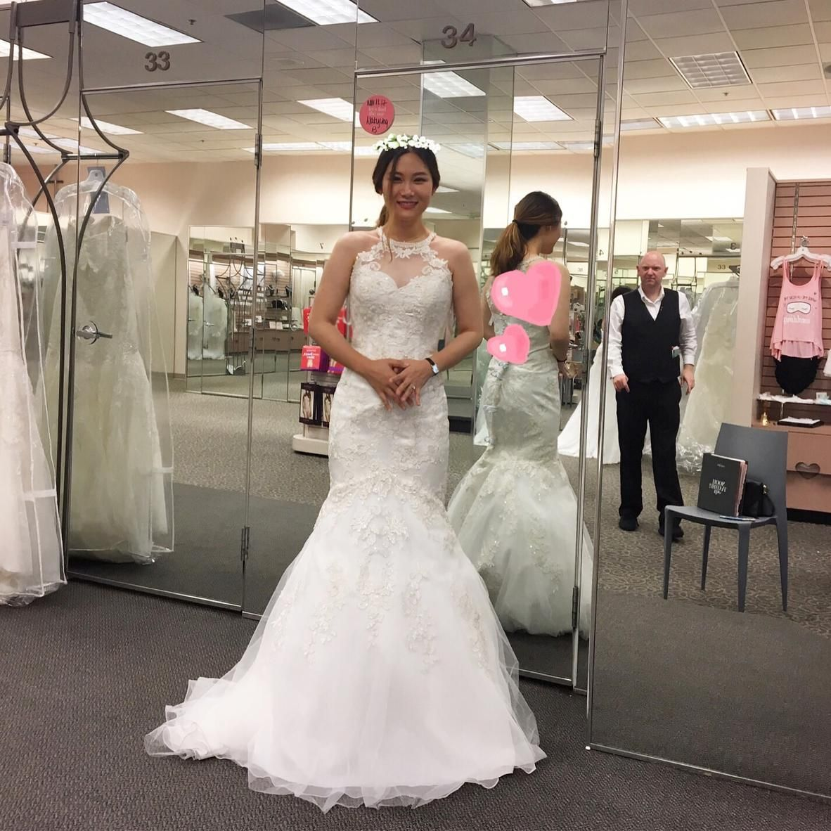 The laceappliqued high illusion neckline and back of this lace and