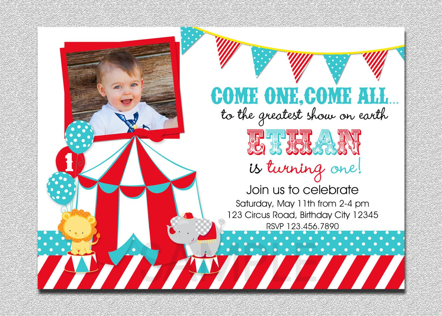 Circus Birthday Invitation, 1st Birthday Circus Party Invitation ...