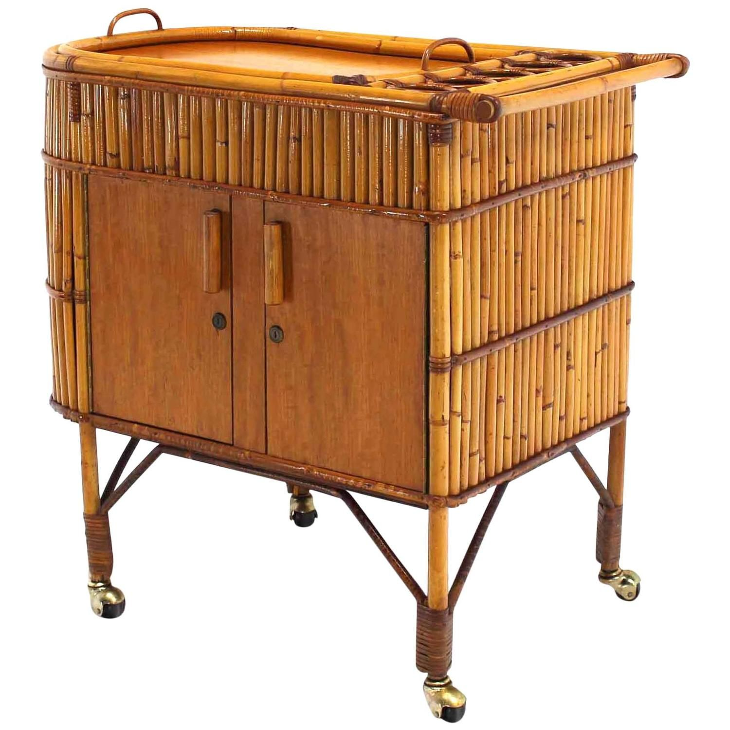 Arts and Crafts Bamboo Bar Liquor Cabinet Serving Cart on Wheels ...