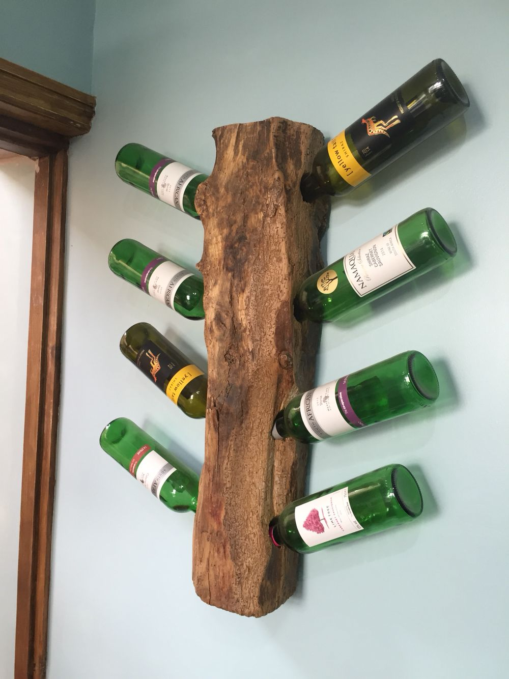Rustic Wine rack holder that I made out of an old damaged oak roof truss that I was repairing in a 500 year old derelict renovation project!