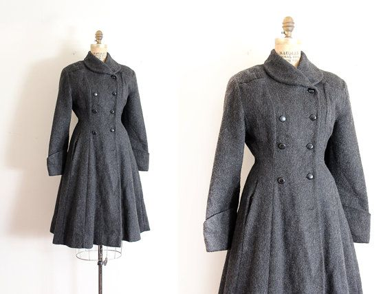 vintage 1940s coat // 40s grey wool princess by TrunkofDresses, $422.00