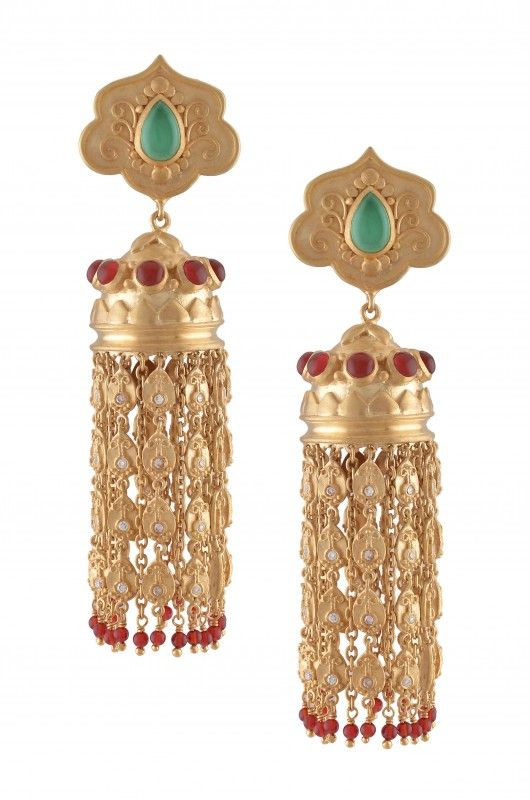 Silver Gold Plated Mughal Style Onyx Jhumki
