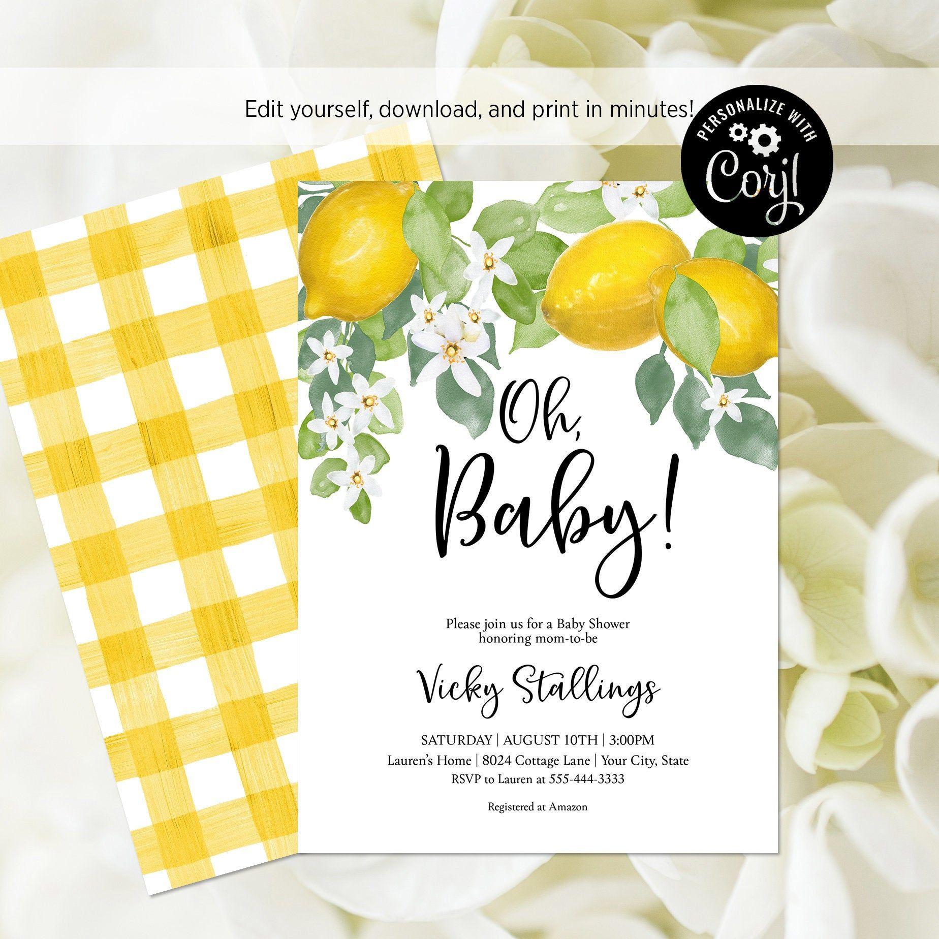 EDITABLE FILE Lemon Oh Baby Shower Invitation Lemon Baby ...
