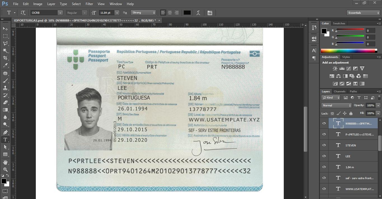 PSD TEMPLATE USA, UK,EU,CA,AU,ASIA:Portugal passport PSD (Photoshop ...