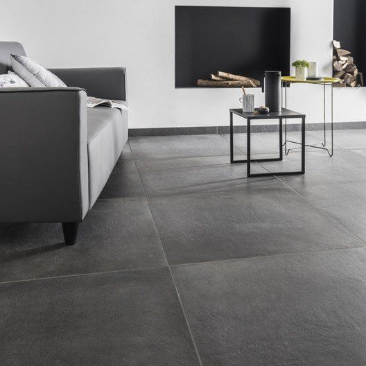 Carrelage sol et mur anthracite effet beton time l 75 x l - Beton cire anthracite ...