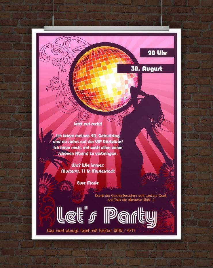 Let s Party Partyeinladung mit Discokugel zum Ausdrucken
