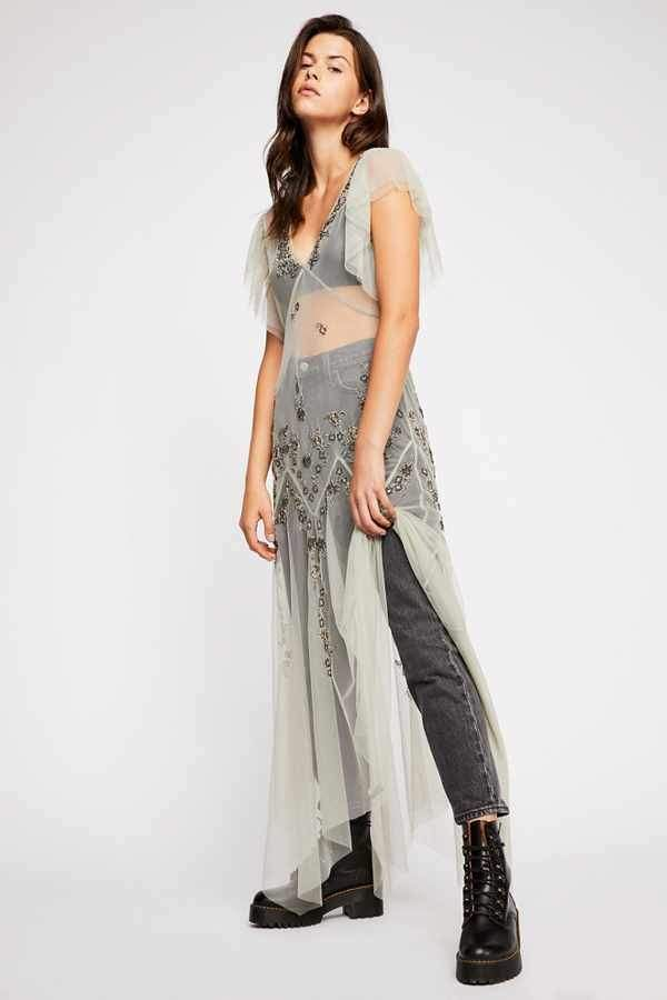 b30645cf118 Intimately Annabelle Embroidered Maxi Slip Sheer Maxi Dress