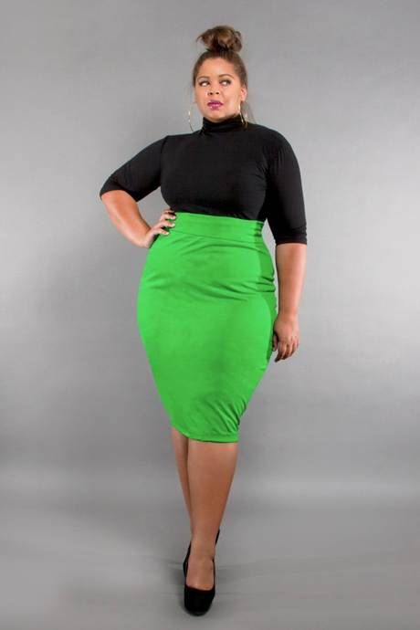 jibri plus size high waist pencil skirt neon green by