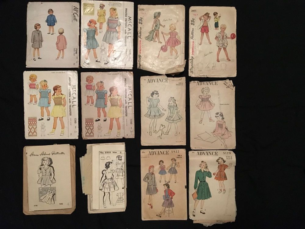 1940s Lot~12 Childs Sewing Pattern Simplicity McCall Advance Hollywood Adams SZ4