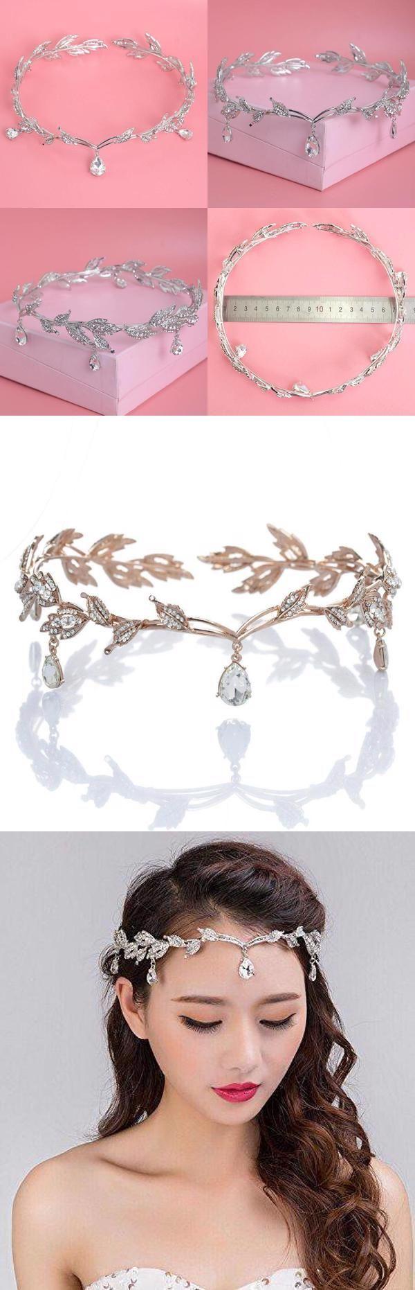 Crystal Crown Tiara, Water drop Leaf Headband, Luxury Hair accessory, Good for Bridals, Prom, Princess, Pageant, Wedding #crowntiara