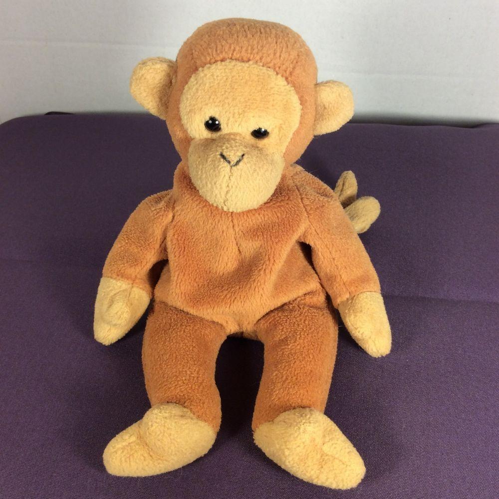 Ty Beanie Baby Plush Bongo The Monkey Stuffed Animal Toy