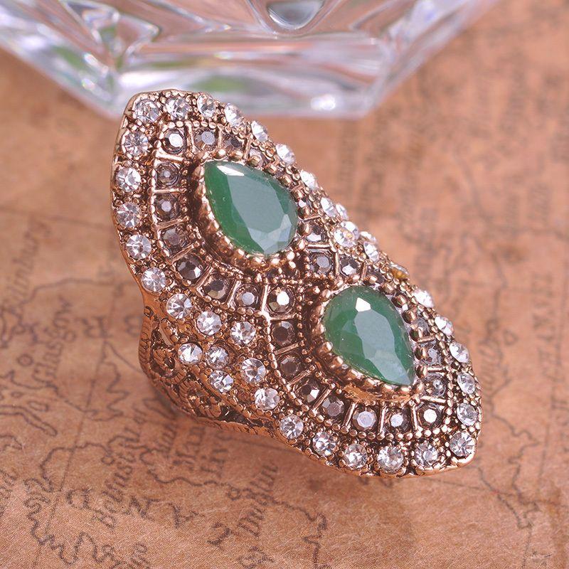 터키 로얄 디자인 녹색 빈티지 링 터키어 여성 액세서리 물 드롭 큰 사이즈 반지 보석 골동품 골드 anel aneis