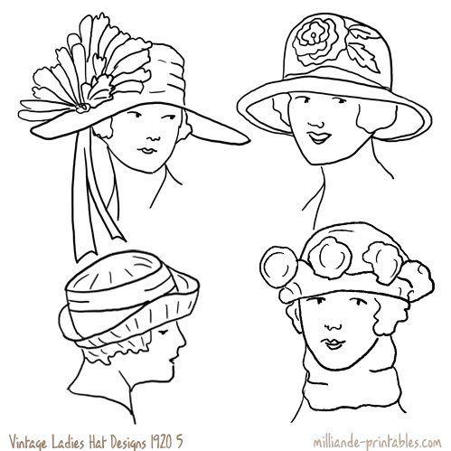 Vintage Womens Hat Design 1920 at www.milliande-printables