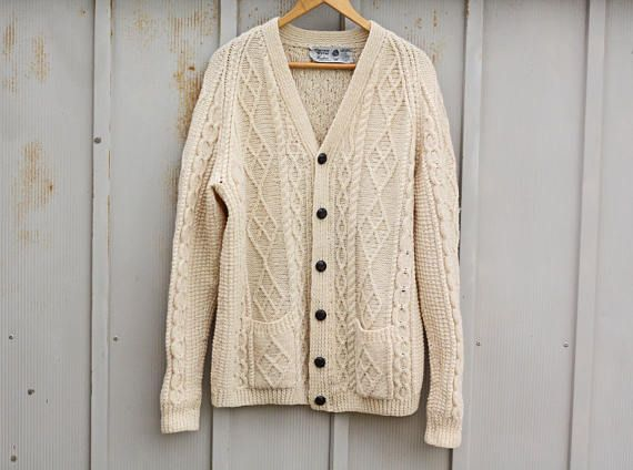 Cream Cable Knit Sweater - Off White Wool Cardigan - Vintage ...