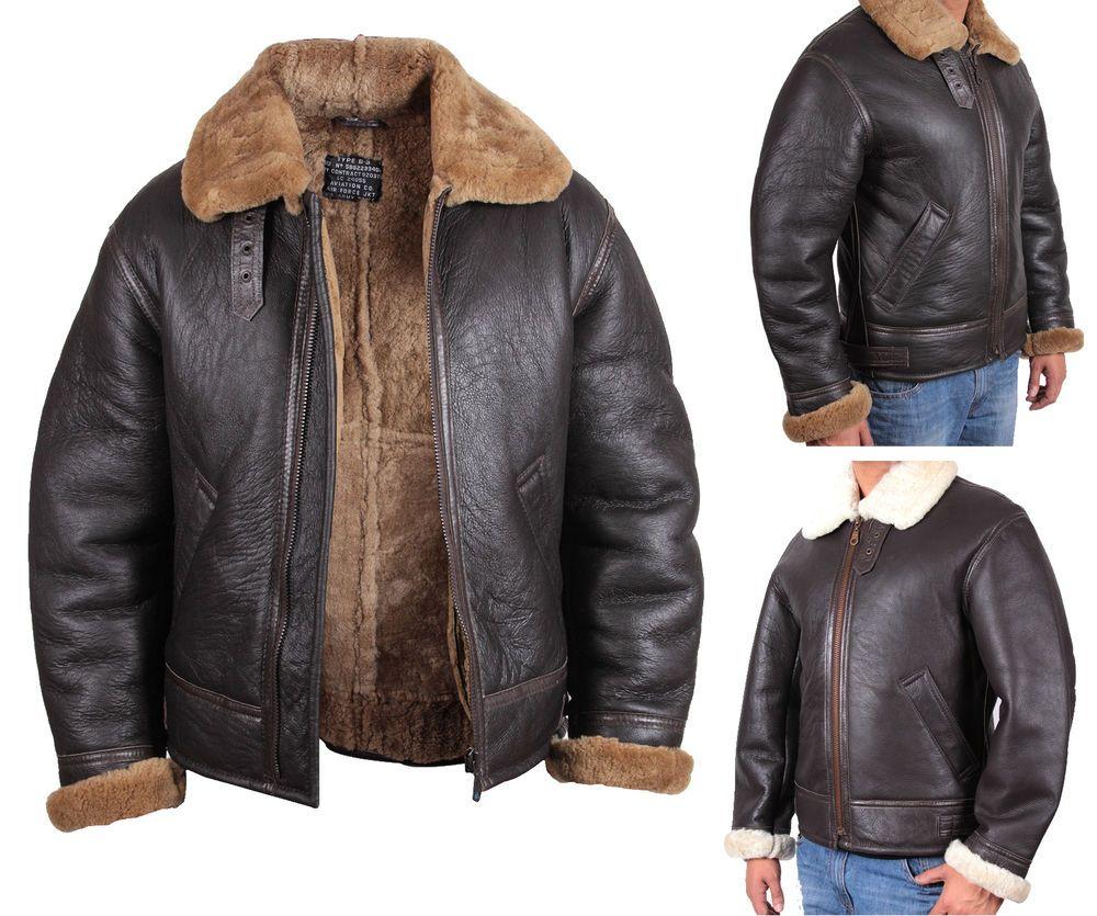 Men's Aviator B3 Ginger Real Shearling Sheepskin Leather