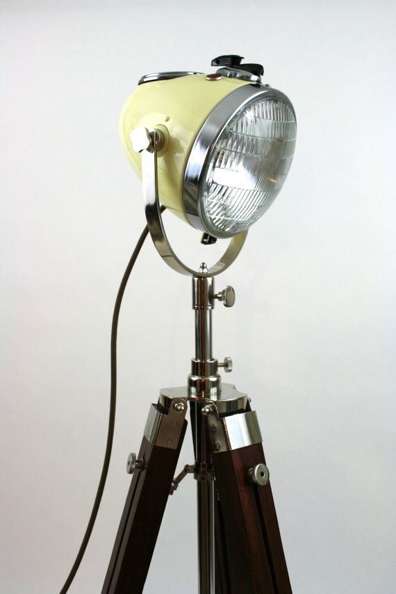 Vintage Motorcycle Headlight Floor Lamp Lamp Repurposed Lamp Vintage Floor Lamp
