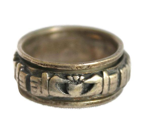 Vintage Irish Claddagh Irish Wedding Ring Spinner Ring Band Etsy Rings For Men Irish Wedding Rings Women Rings