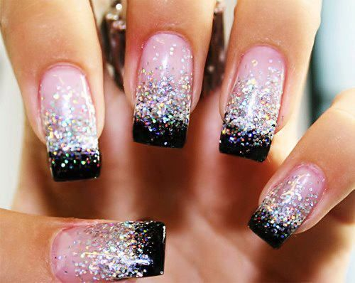 Pink, black and glitter nails...A little too long for me but still cute