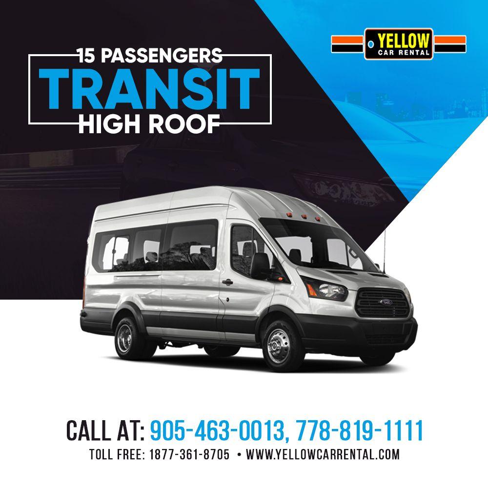 15 Passengers Transit High Roof Car Rental Yellow Car Passenger