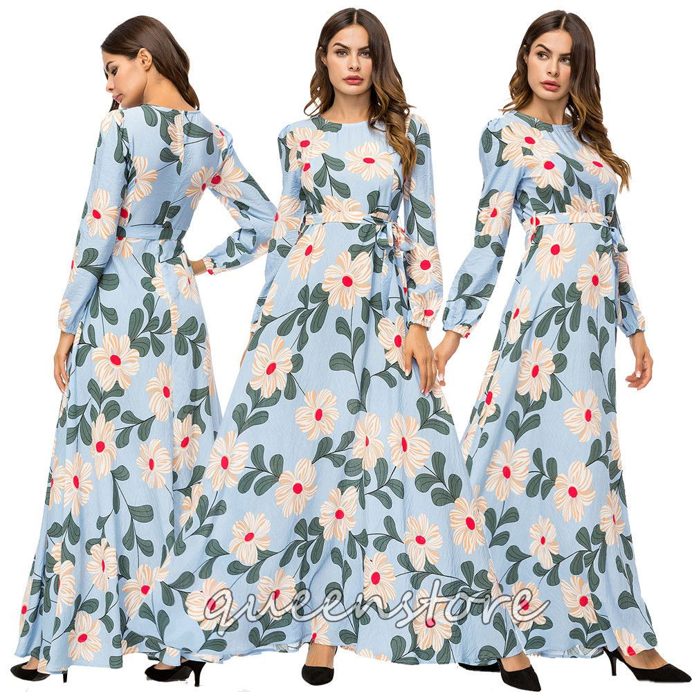 Msulim women floral printed long dress vintage dubai abaya maxi