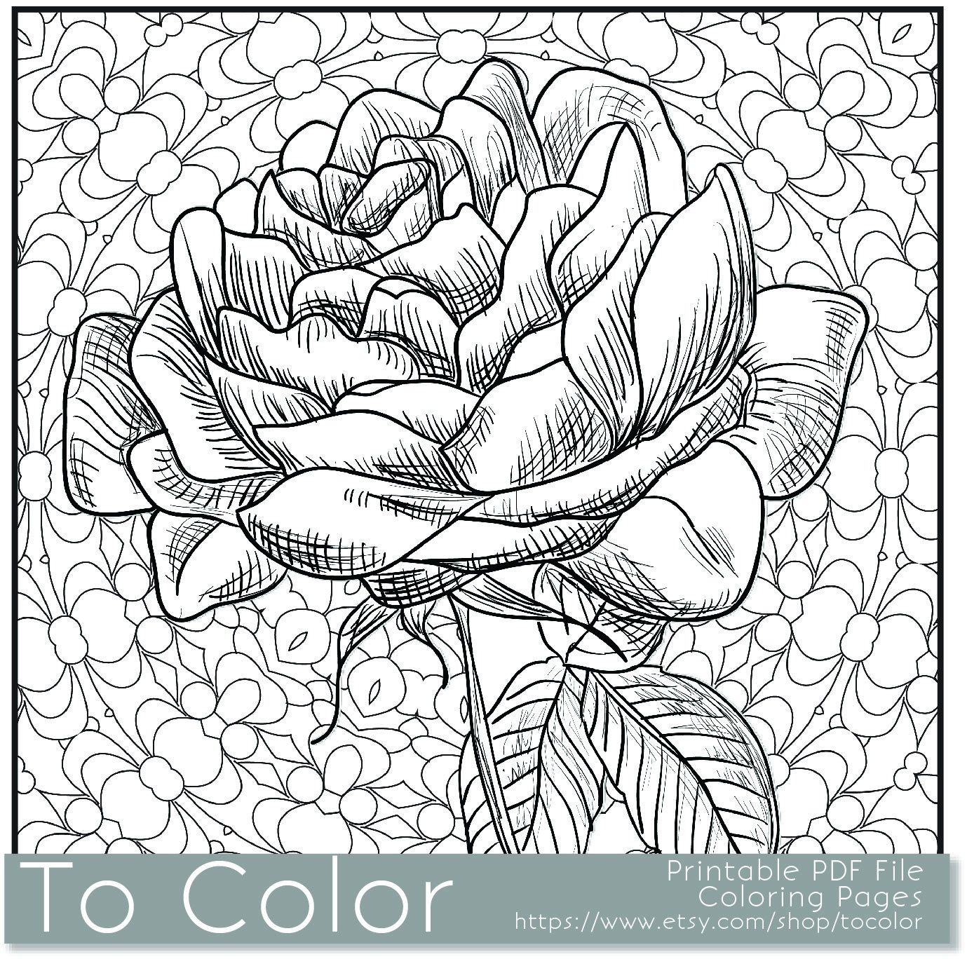 Popular Items For Flower Coloring Page On Etsy