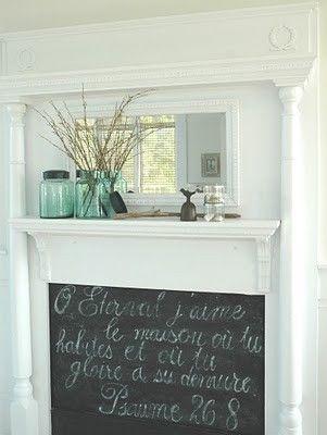 chalkboard fireplace...