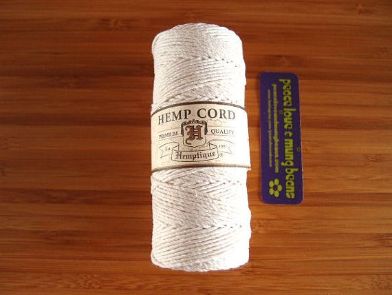 Hemp Cord - White - #20 20lb / 1mm cord Hemptique - Five (5) Metres -   Jewellery Making Stringing Knotting Cord Thong  by LoveBagMaking Find it now at http://ift.tt/2cYsQyn!