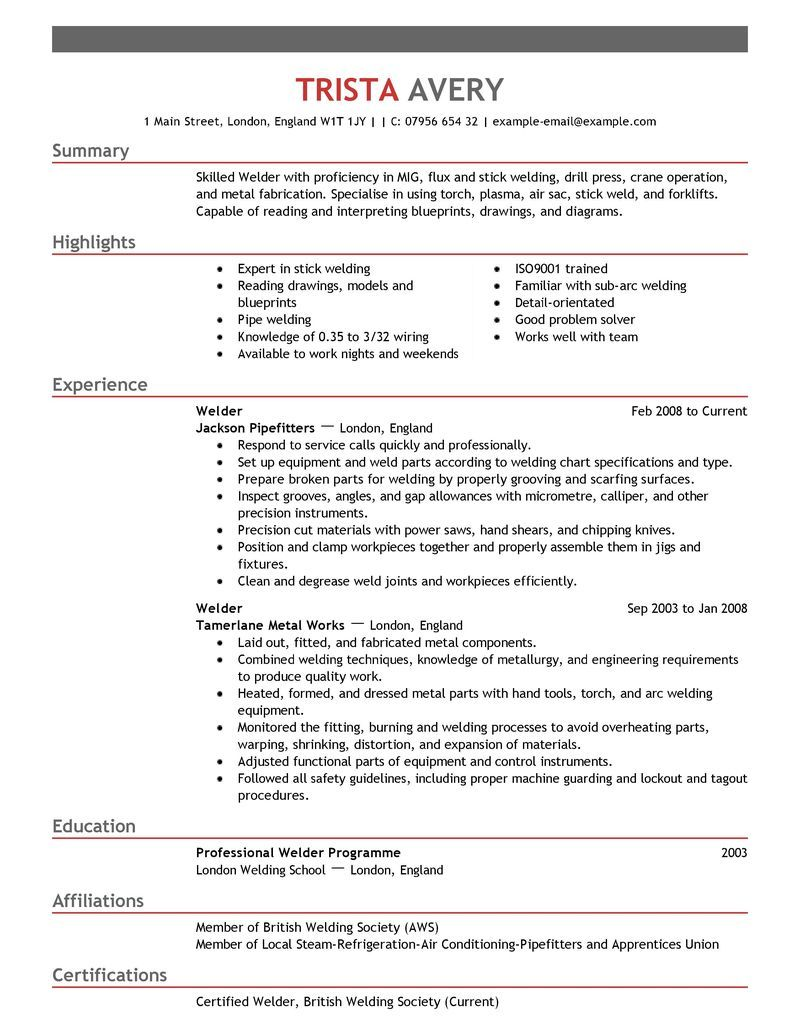 unique welder resume Google Search Resume examples